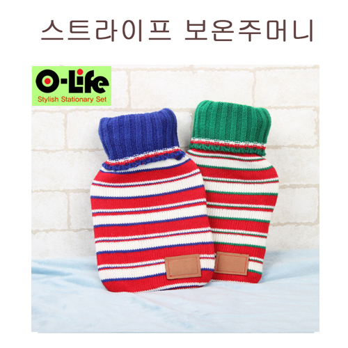 [O-life]  냉/온겸용  찜질 주머니 (스트라이프)  레드(블루)/레드(그린) 택1